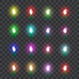 Ställ in av kulöra neonexponeringsglaslampor i retro stil vektor vektor illustrationer