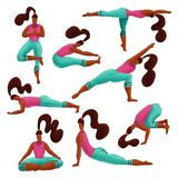 Ställ in av kvinna som 8 gör mångfaldyogaövningar Yogaflickasamling Flickor i olika asanas För tecknad filmtecken för hand utdrag vektor illustrationer