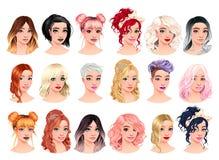 Ställ in av kvinnliga avatars för mode stock illustrationer