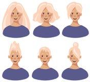 Ställ in av kvinnliga framsidor med olika hårstilar i plan tecknad filmstil stock illustrationer