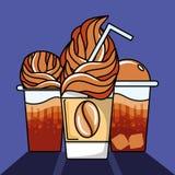 Ställ in av läckert med is kaffe royaltyfri illustrationer