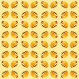 Ställ in av läckra nya hamburgare Vattenfärgillustration som isoleras på gul bakgrund seamless modell royaltyfri illustrationer