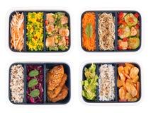 Ställ in av lagad mat mat i lunchaskar som isoleras på vit bakgrund arkivbild