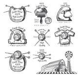 Ställ in av lantgård för etikettullfår med garnbollen Logo för stucken släkt plats för hantverk stock illustrationer