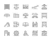 Ställ in av lekplatslinjen symboler Klättra det netto repet, gunga, dubbel gungbräde och mer stock illustrationer