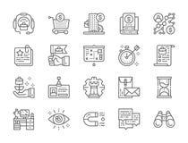 Ställ in av linjen symboler för affärsstrategi Timglas algoritm, certifikat och mer stock illustrationer