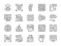 Ställ in av linjen symboler för konstgjord intelligens Chatbot Big Data, databas och mer royaltyfri illustrationer