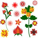 Ställ in av ljusa utsmyckade färger för din design på vit bakgrund stock illustrationer