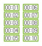 Ställ in av ljust - gröna digitala klockor som visar från en minut till tio minuter vektor illustrationer