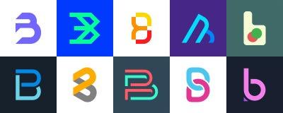 Ställ in av logo för bokstav B vektor illustrationer