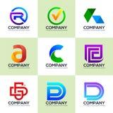 Ställ in av logoer för industriella och finansiella affärslogoer royaltyfri illustrationer