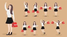 Ställ in av lycklig flicka för tecken med köp med försäljningar stock illustrationer