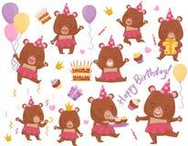 Ställ in av lycklig flickabjörn i olika handlingar Förtjusande humaniserat djur Plana vektorbeståndsdelar för födelsedagvykort vektor illustrationer