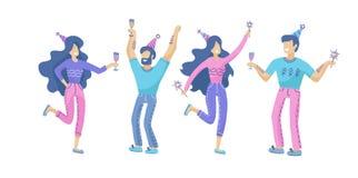 Ställ in av lyckligt folk på ett festligt parti Positiva män och kvinnor med champagne- och tomteblossdans och hagyckel Samling a vektor illustrationer