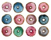 Ställ in av mång--färgade donuts med gråa rosa blått för isläggning och för karamell stock illustrationer