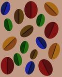 Ställ in av mångfärgade kaffebönor stock illustrationer
