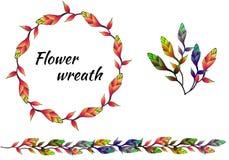 Ställ in av mångfärgade ljusa blom- modeller och vektorkransar stock illustrationer