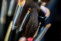 St?ll in av makeupborstar i fall att n?ra royaltyfri foto