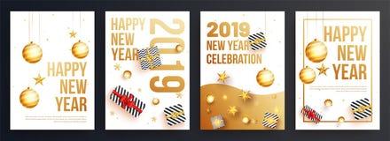 Ställ in av mall för lyckligt nytt år eller reklambladdesignen för ce för 2019 parti royaltyfri illustrationer