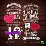 Ställ in av mallar för den grafiska designen för valentindagkort royaltyfria bilder