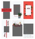 Ställ in av mallar för julinstagramberättelser i klotterstil Jul och photoframe för vinterferie för bloggers royaltyfri illustrationer