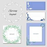 Ställ in av mallar med abstrakta beståndsdelar med blommor i ljus - gröna och blåa signaler vektor illustrationer