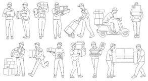 Ställ in av manliga arbetare från olika hemsändningar skissar översiktsstil royaltyfri illustrationer