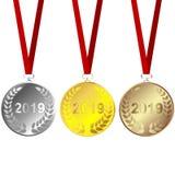 Ställ in av 2019 medaljer stock illustrationer