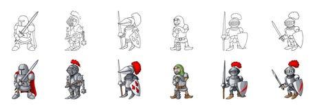 Ställ in av medeltida illustration för vektor för stil för riddareteckentecknad film royaltyfri bild