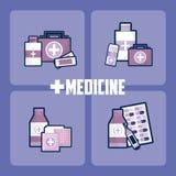 Ställ in av medicin och droger stock illustrationer