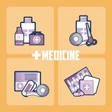 Ställ in av medicin och droger vektor illustrationer