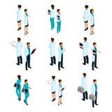 Ställ in av medicinska arbetare i den isometriska framdelen och baksidan, sjukhuspersonalen, doktorn, kirurgen, sjuksköterska royaltyfri illustrationer
