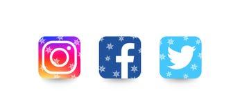 Ställ in av mest populära sociala massmediasymboler: Twitter Instagram, Facebook, övervintrar stil vektor illustrationer