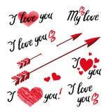 Ställ in av mig älskar dig handbokstäver och beståndsdelar med dekorativa prydnader stock illustrationer