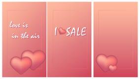 Ställ in av minimalist reklamblads affischer med omfångsrika hjärtor stock illustrationer