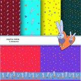 Ställ in av modeller med gråa kaniner på färgrika bakgrunder För utskrift av tapeter Ljus kanin som kramar en hjärta för royaltyfri illustrationer