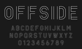 Ställ in av modern abstrakt design för alfabetstilsorter med linjer royaltyfri foto