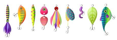 Ställ in av modernt färgrikt fiska bete, olik form royaltyfri illustrationer