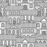 Ställ in av monokromma hus Sömlös modell för plan stilvektor royaltyfri illustrationer