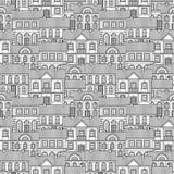 Ställ in av monokromma hus Sömlös modell för plan stilvektor stock illustrationer