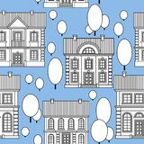 Ställ in av monokromma hus Sömlös modell för plan stilvektor vektor illustrationer
