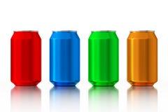 Ställ in av Multicolour tomma aluminiumburkar framförande 3d vektor illustrationer
