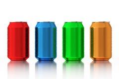 Ställ in av Multicolour tomma aluminiumburkar med vattendroppar 3d sliter royaltyfri illustrationer