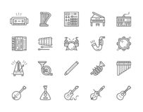 Ställ in av musikinstrument fodrar symboler Piano dragspel, fiol, gitarr och mer royaltyfri illustrationer