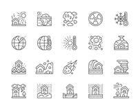 Ställ in av naturkatastroflinjen symboler Torka global uppvärmning, förorening och mer stock illustrationer