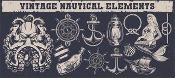 Ställ in av nautiska beståndsdelar för en tappning på en mörk bakgrund royaltyfri illustrationer