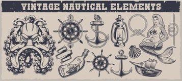 Ställ in av nautiska beståndsdelar för svartvit tappning stock illustrationer