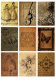 Ställ in av nio gamla kort, tappningcollage sometiketter avbildar abstrakt collage för bakgrunder vektor illustrationer