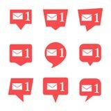 Ställ in av nio meddelanden i socialt massmedia med meddelandet stock illustrationer