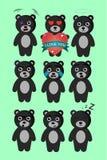 Ställ in av nio nallebjörnar med nio olika sinnesrörelser stock illustrationer